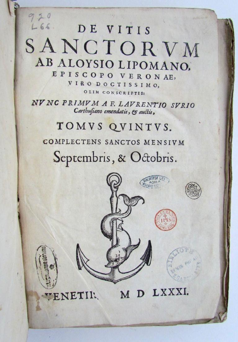 1581 ANTIQUE VELLUM BOUND FOLIO LIVES OF SAINTS by