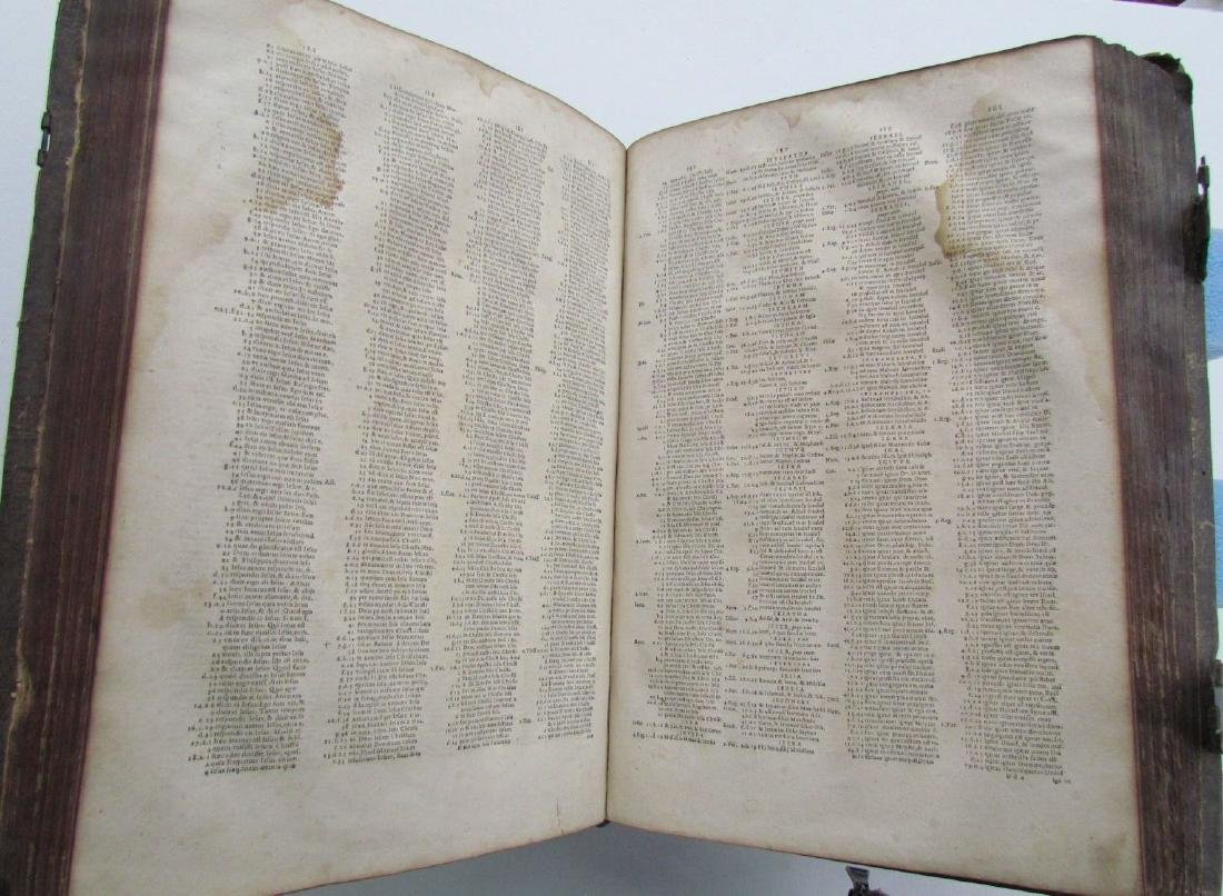 1617 ANTIQUE BLINDSTAMPED VELLUM FOLIO BIBLE DICTIONARY - 10