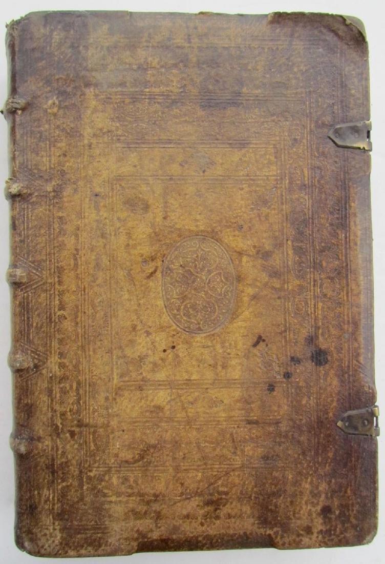 1617 ANTIQUE BLINDSTAMPED VELLUM FOLIO BIBLE DICTIONARY - 2