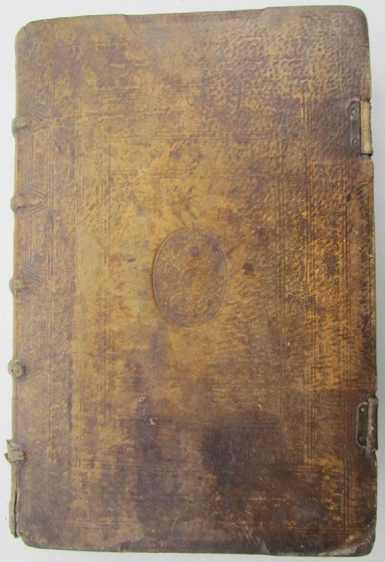 1617 ANTIQUE BLINDSTAMPED VELLUM FOLIO BIBLE DICTIONARY - 4