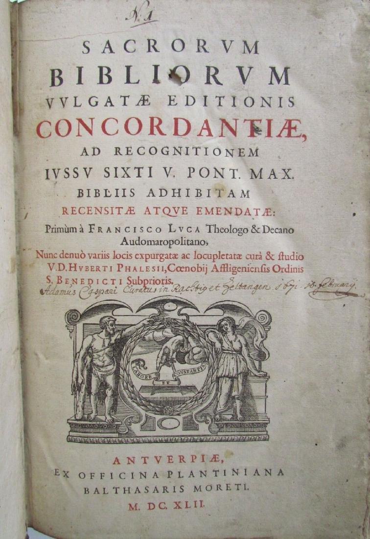 1617 ANTIQUE BLINDSTAMPED VELLUM FOLIO BIBLE DICTIONARY - 5