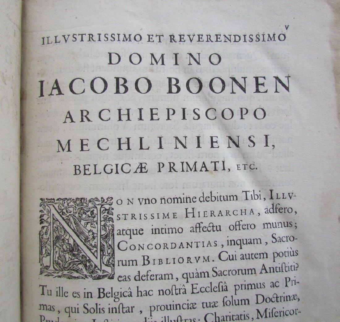 1617 ANTIQUE BLINDSTAMPED VELLUM FOLIO BIBLE DICTIONARY - 6
