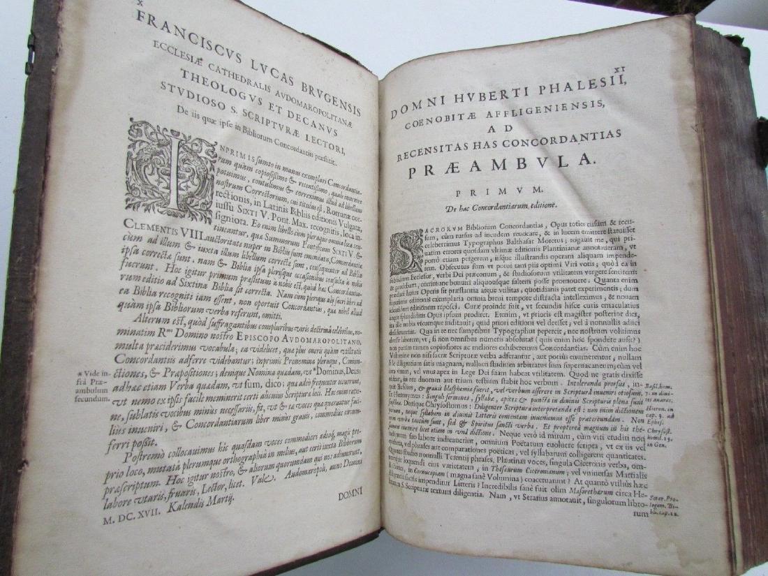 1617 ANTIQUE BLINDSTAMPED VELLUM FOLIO BIBLE DICTIONARY - 7