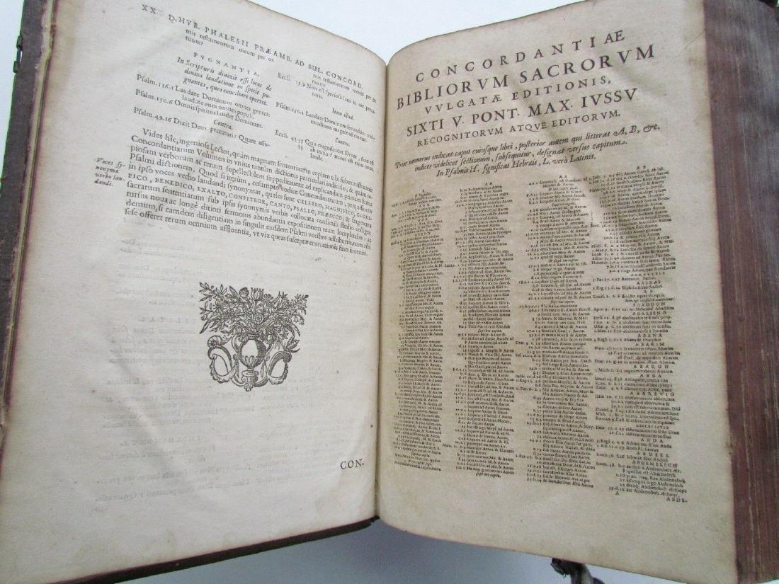 1617 ANTIQUE BLINDSTAMPED VELLUM FOLIO BIBLE DICTIONARY - 8