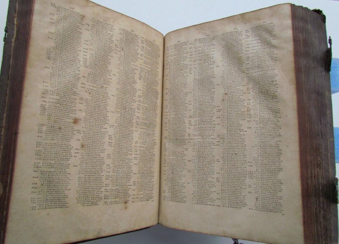 1617 ANTIQUE BLINDSTAMPED VELLUM FOLIO BIBLE DICTIONARY - 9