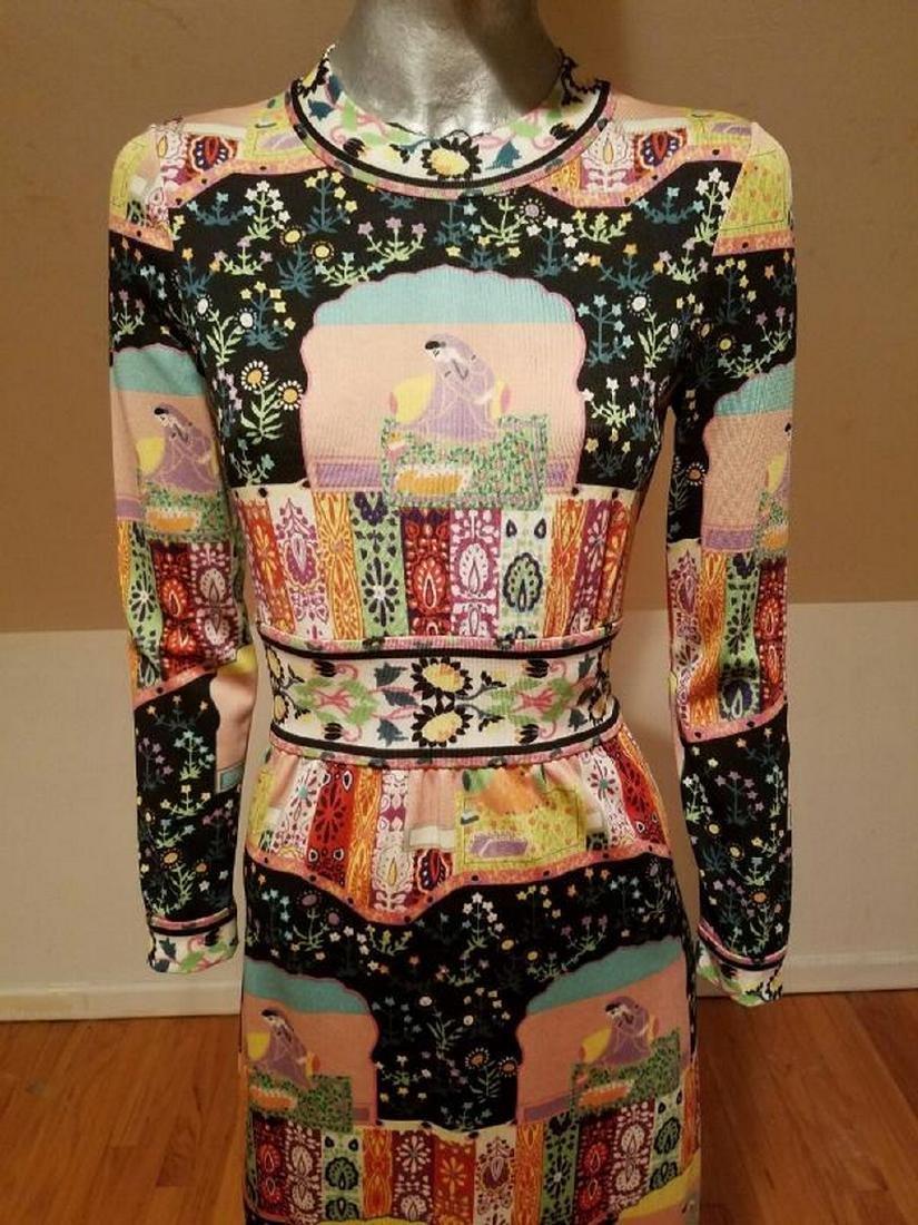 Vtg 1960's Goldworm Italy Hindu printed jersey dress