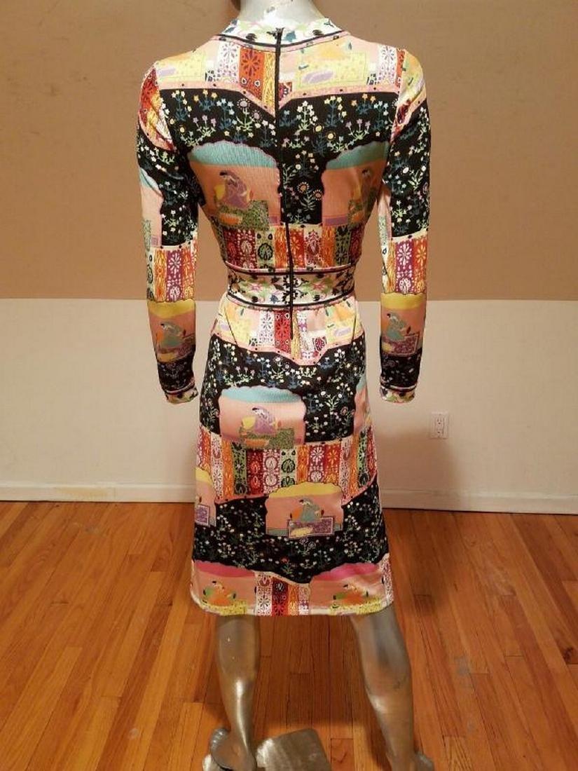Vtg 1960's Goldworm Italy Hindu printed jersey dress - 3