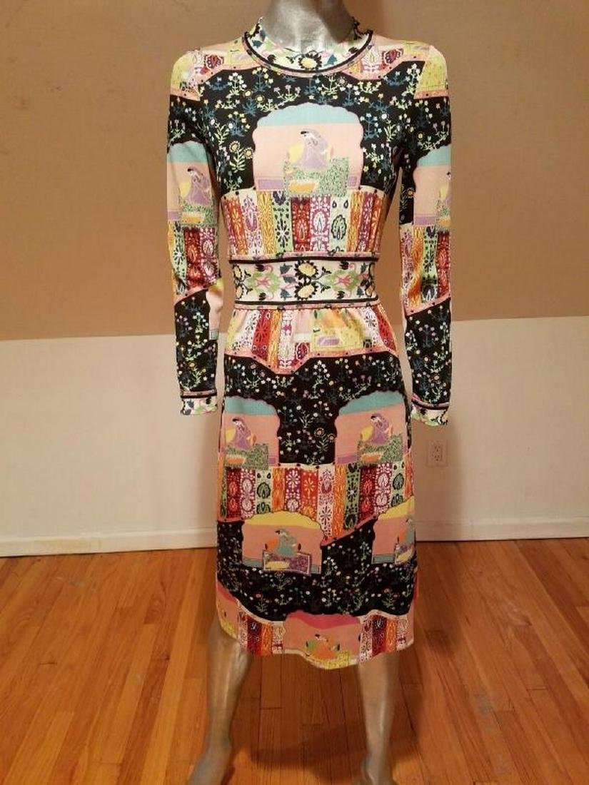 Vtg 1960's Goldworm Italy Hindu printed jersey dress - 5