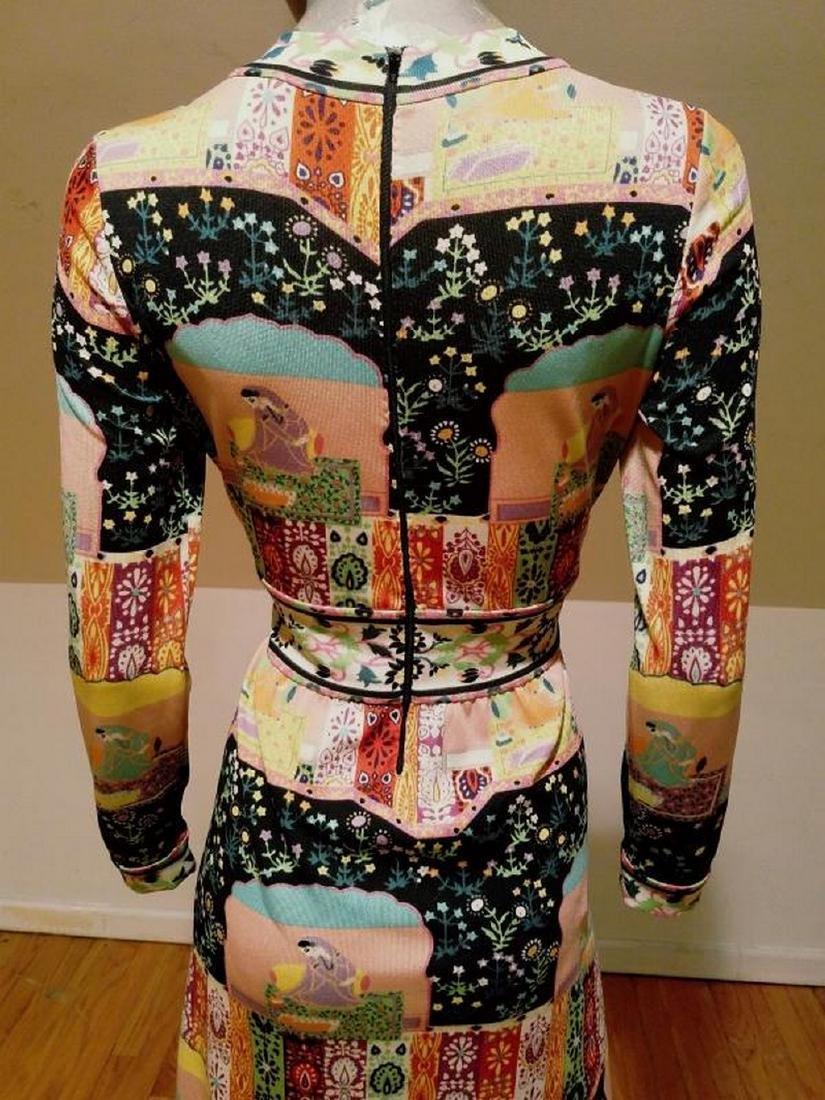 Vtg 1960's Goldworm Italy Hindu printed jersey dress - 8