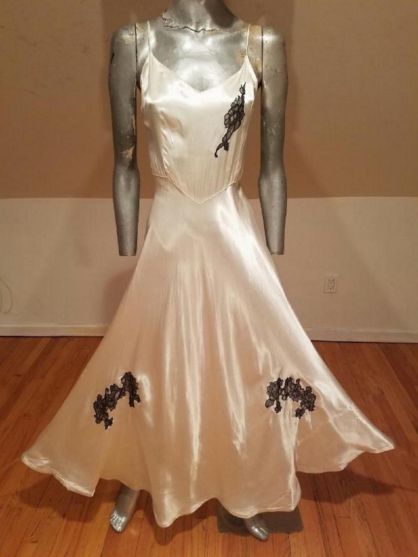 Vtg 1930's Peau de Soie eggshell bias maxi gown lace - 3