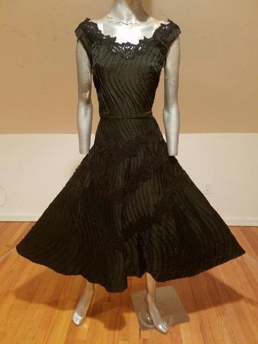 Vtg French Shantung full sweep dress Guipure lace swirl