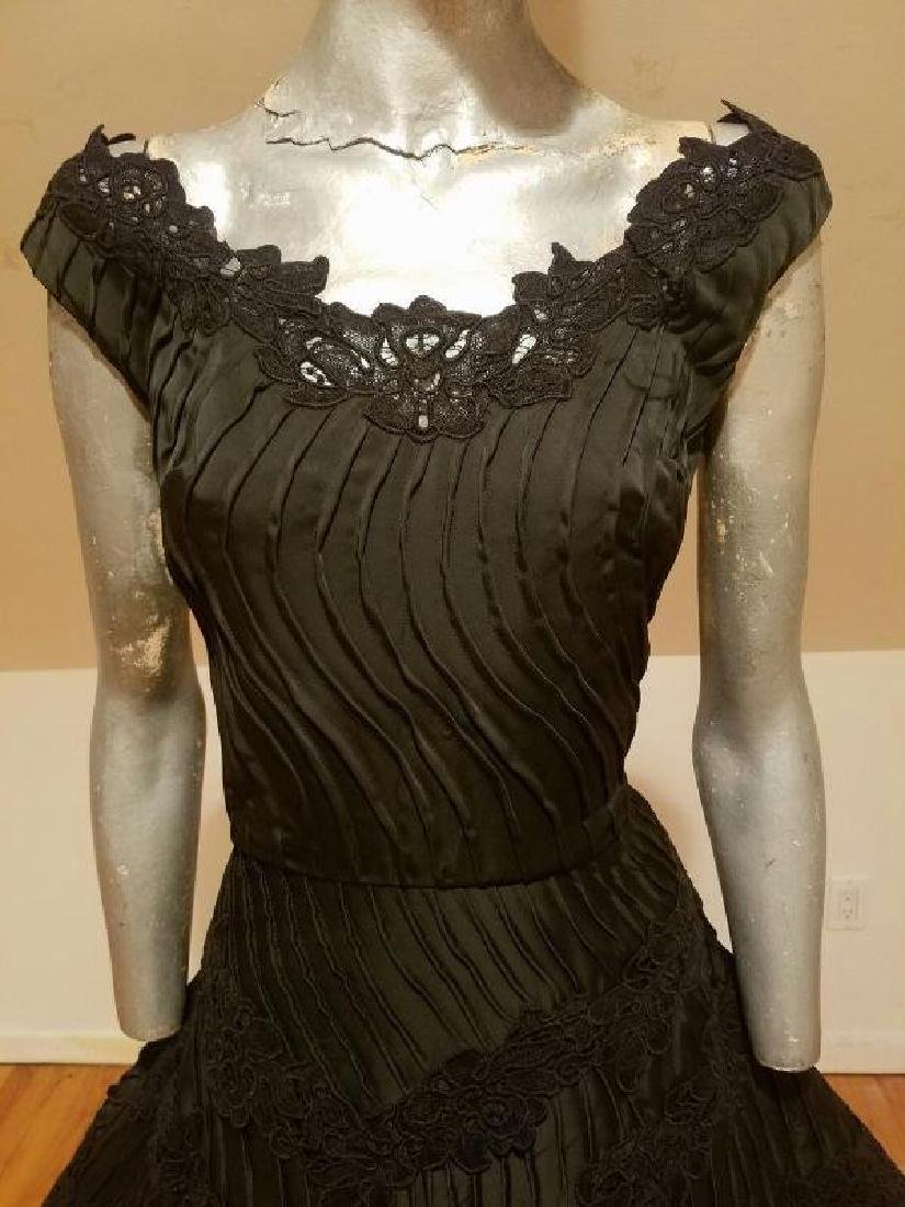 Vtg French Shantung full sweep dress Guipure lace swirl - 6