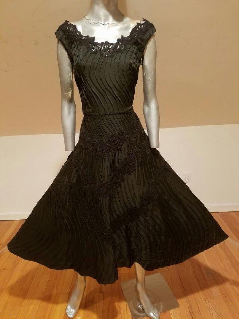 Vtg French Shantung full sweep dress Guipure lace swirl - 9