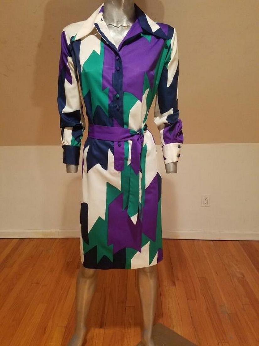 Vtg LANVIN 1970 very rare Killer chemise dress w/sash