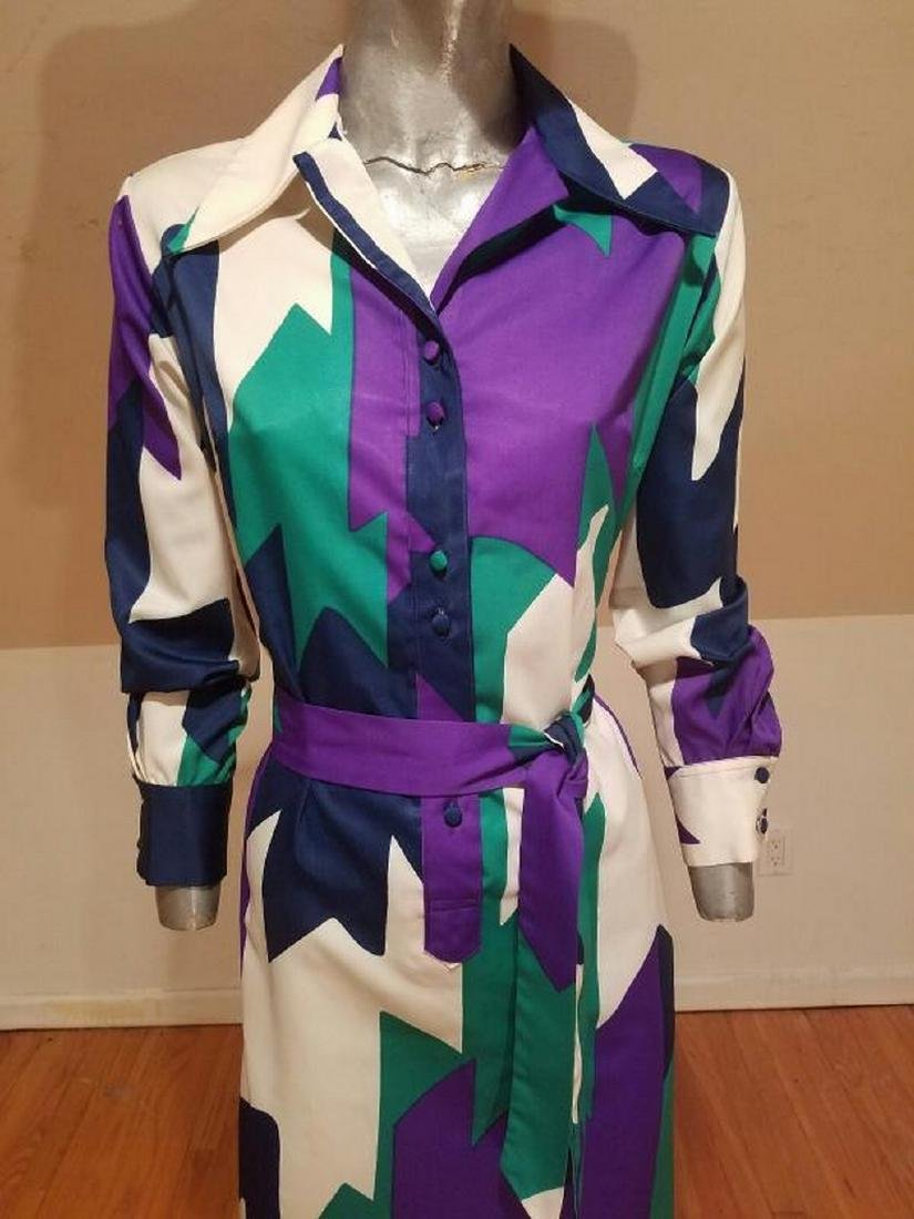 Vtg LANVIN 1970 very rare Killer chemise dress w/sash - 5