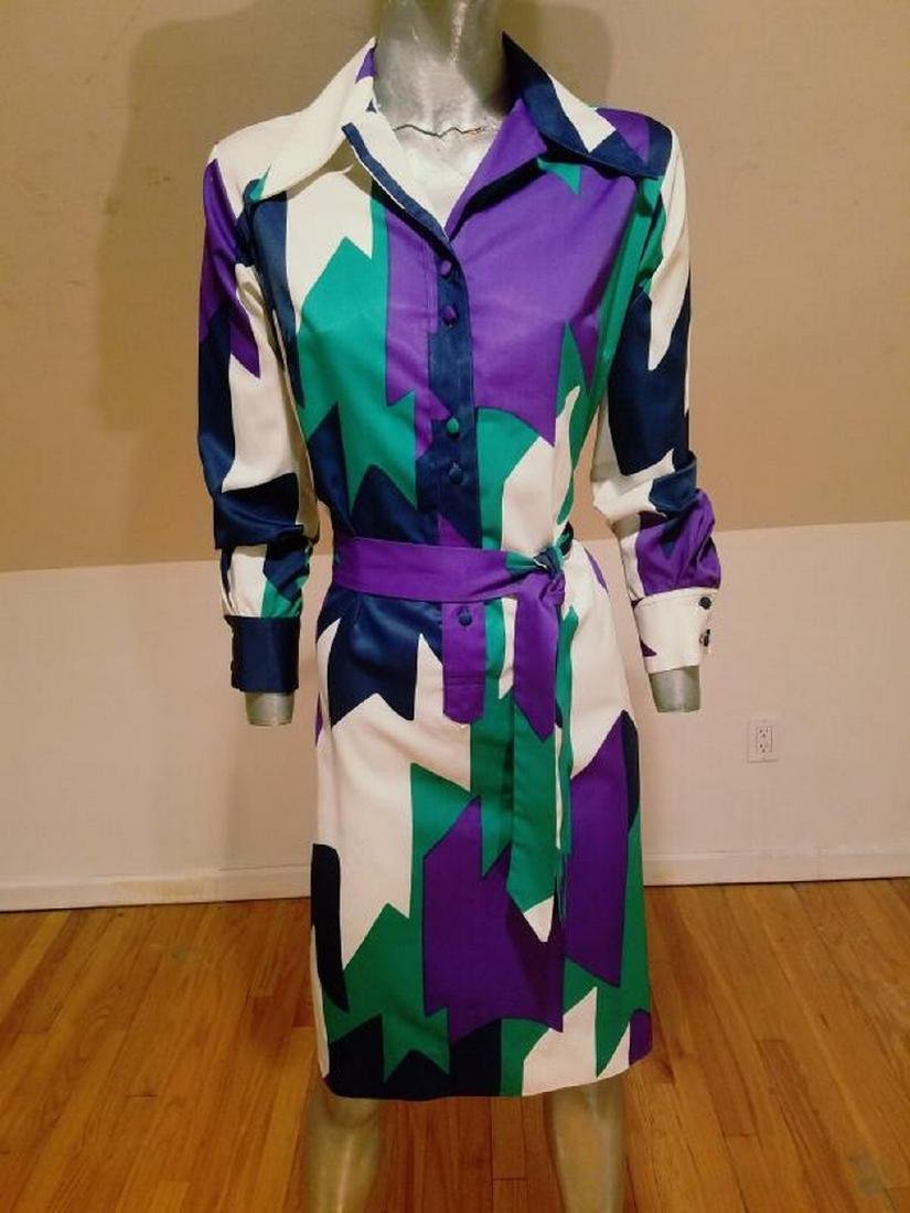Vtg LANVIN 1970 very rare Killer chemise dress w/sash - 8