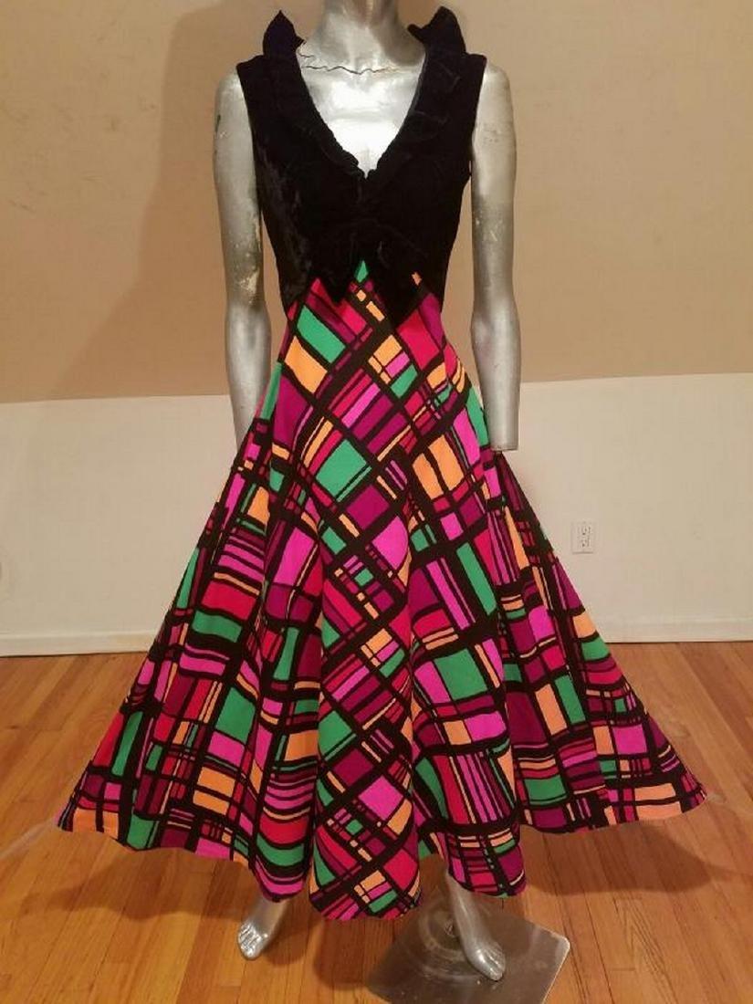 Vtg Elinor Gay Original Maxi Plaid & Velour dress