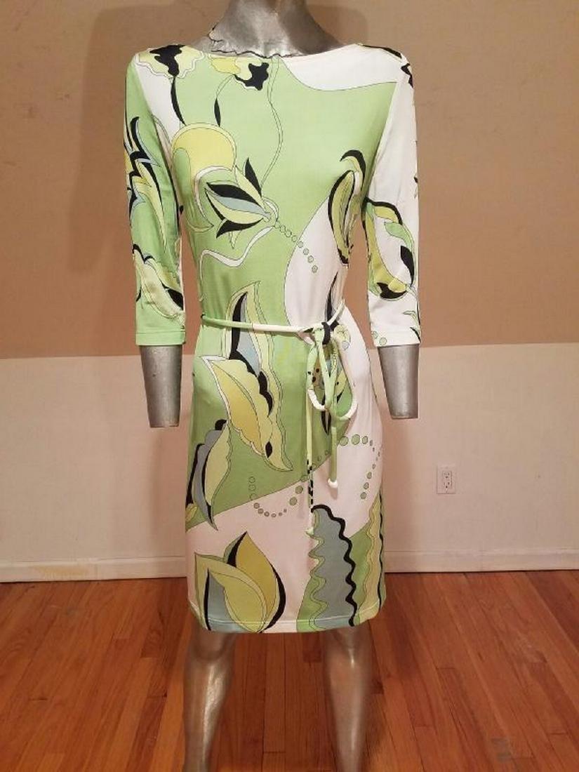 Vtg Averardo Bessi Signed printed dress w/belt Circa - 2