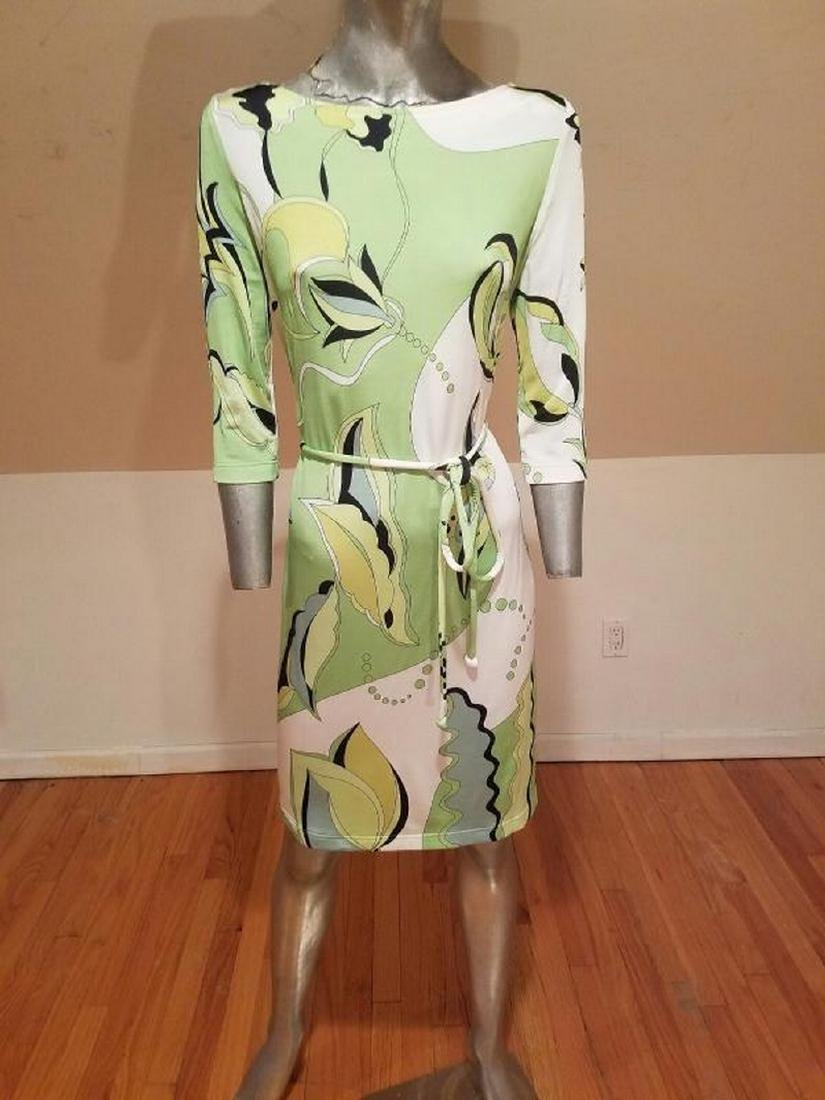 Vtg Averardo Bessi Signed printed dress w/belt Circa - 4