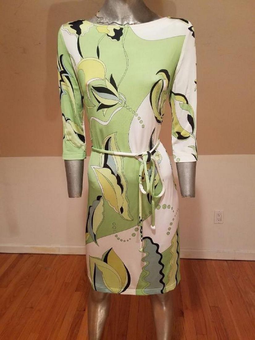 Vtg Averardo Bessi Signed printed dress w/belt Circa - 7