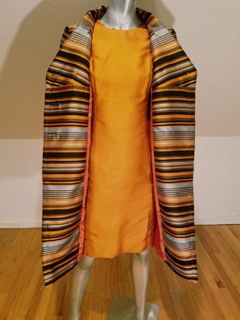 Vtg Silk Shantung Opera Ensemble Coat and Dress crystal