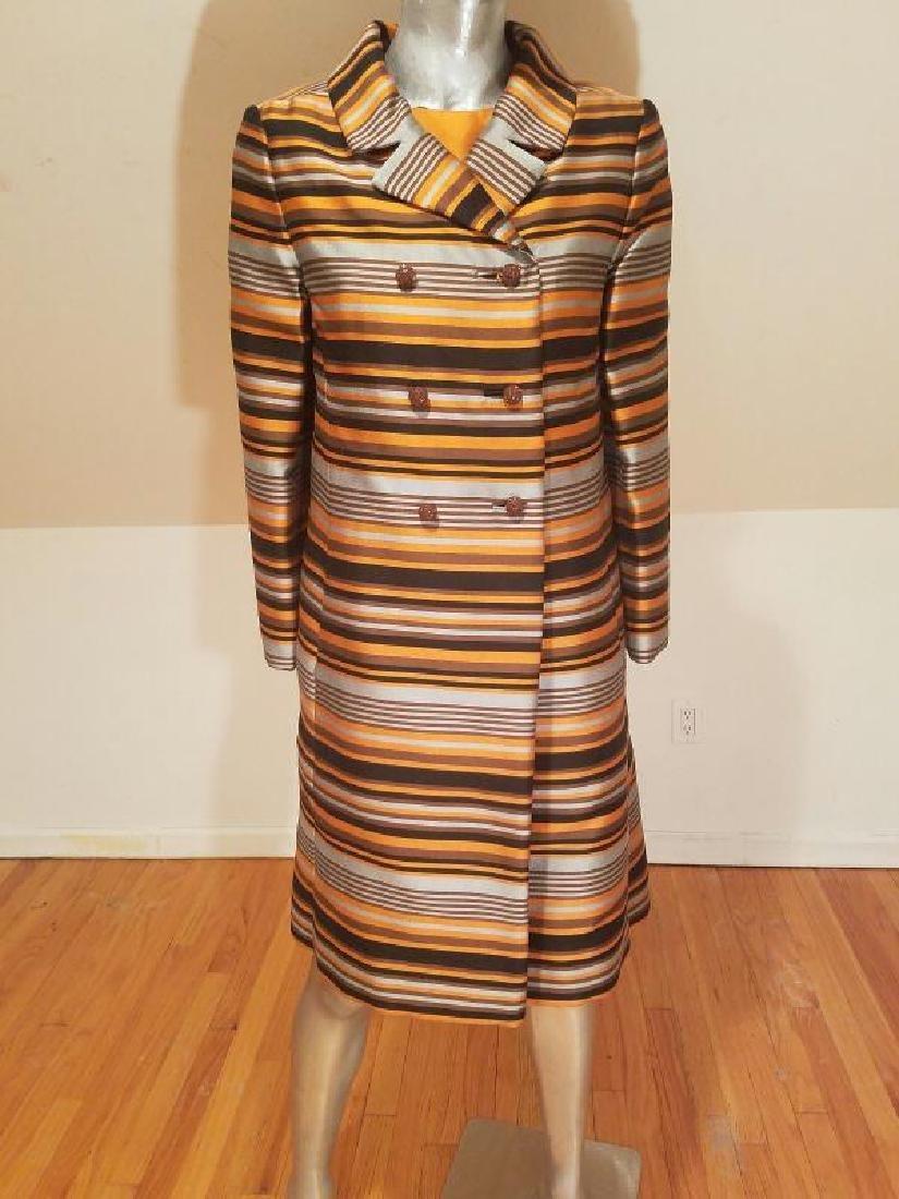 Vtg Silk Shantung Opera Ensemble Coat and Dress crystal - 3
