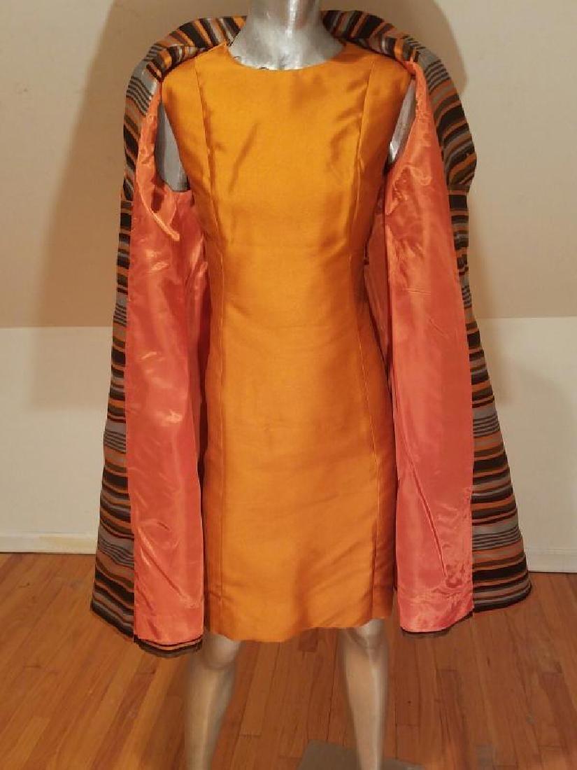 Vtg Silk Shantung Opera Ensemble Coat and Dress crystal - 8