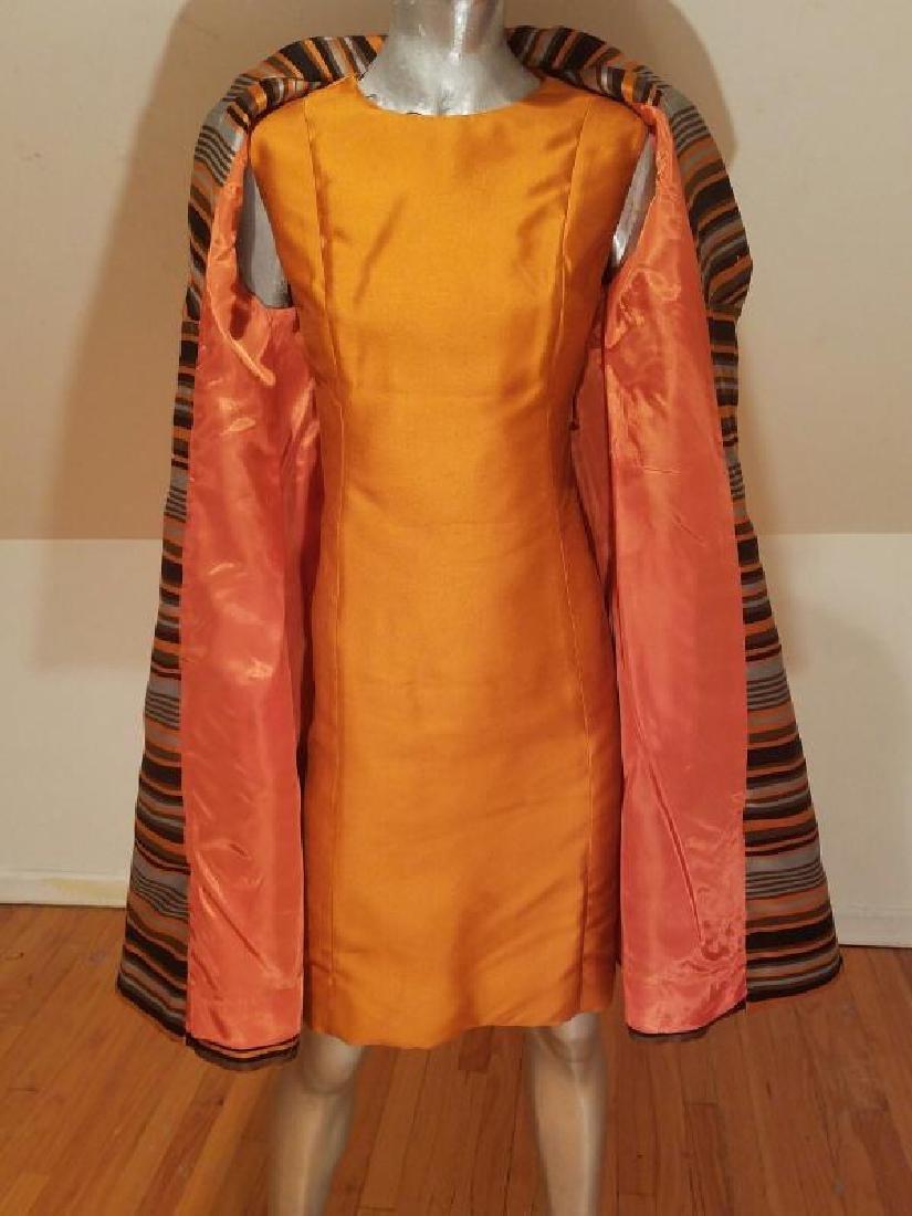 Vtg Silk Shantung Opera Ensemble Coat and Dress crystal - 9