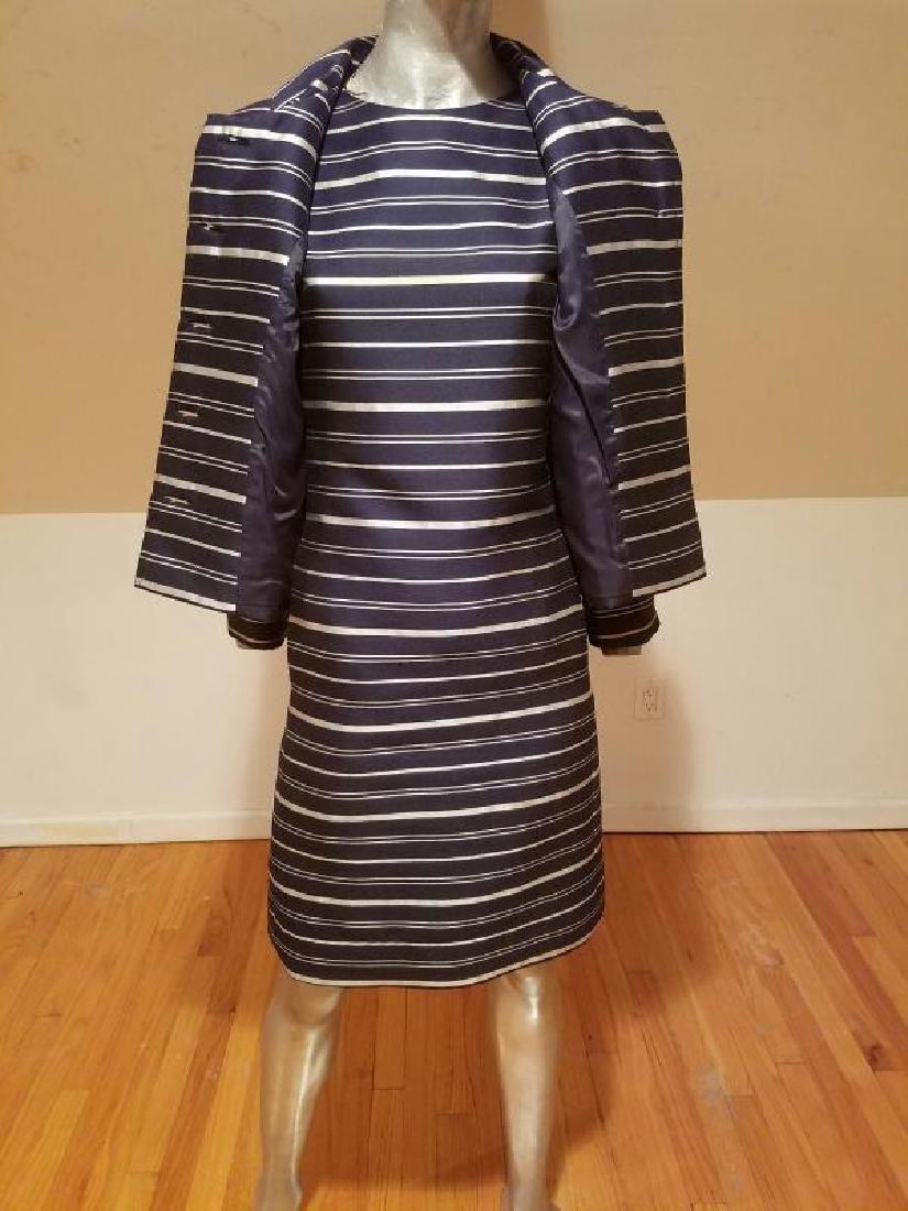 Vtg silk shantung silver lame' stripe dress & jacket