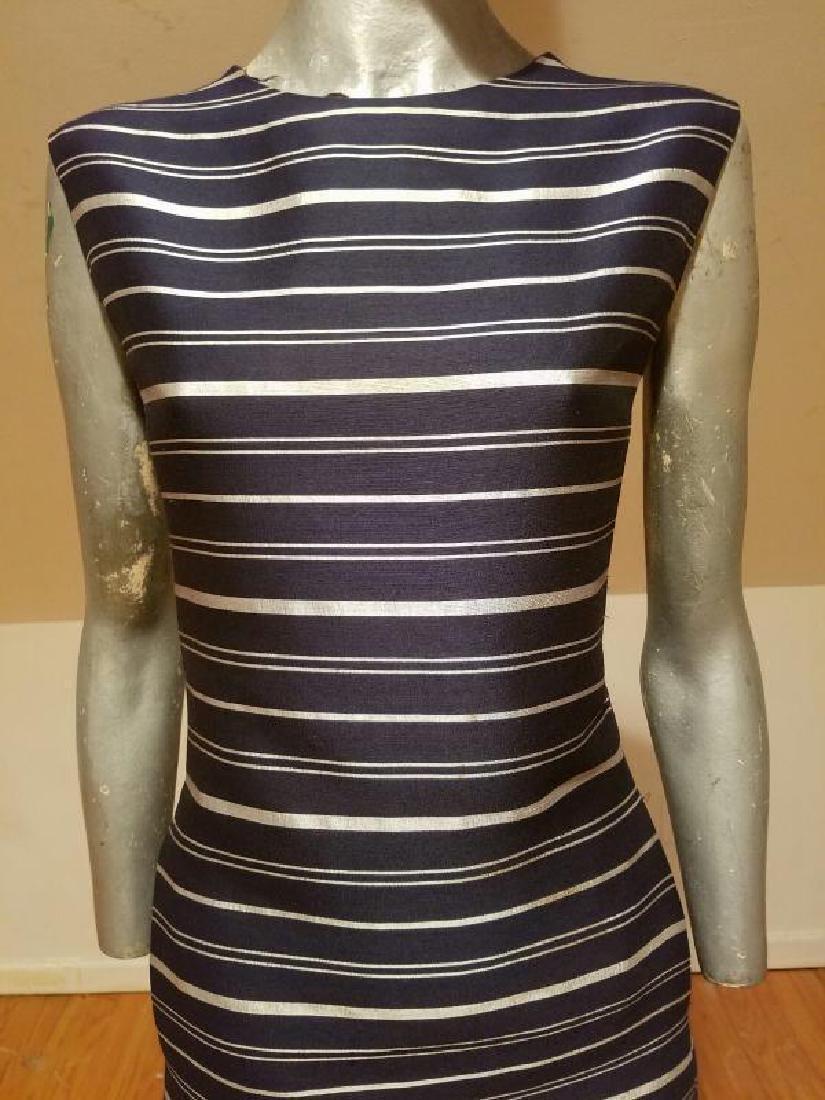 Vtg silk shantung silver lame' stripe dress & jacket - 4
