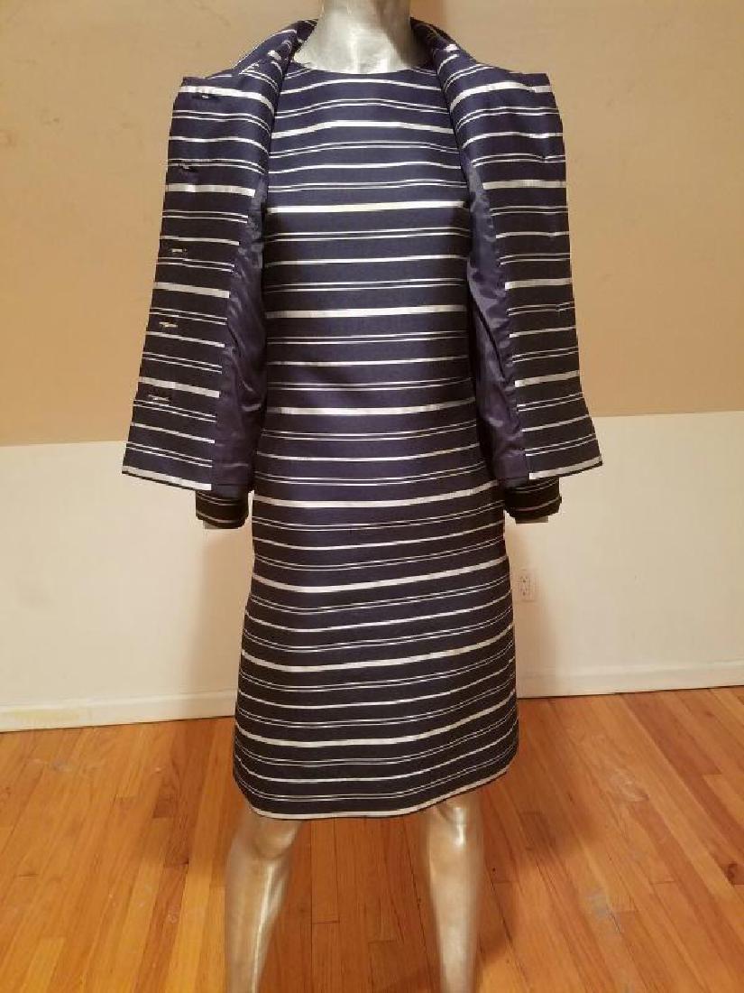 Vtg silk shantung silver lame' stripe dress & jacket - 6