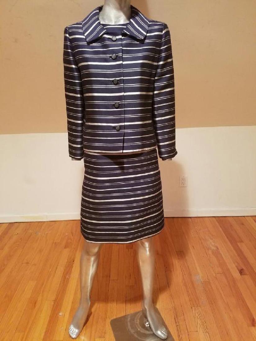 Vtg silk shantung silver lame' stripe dress & jacket - 7