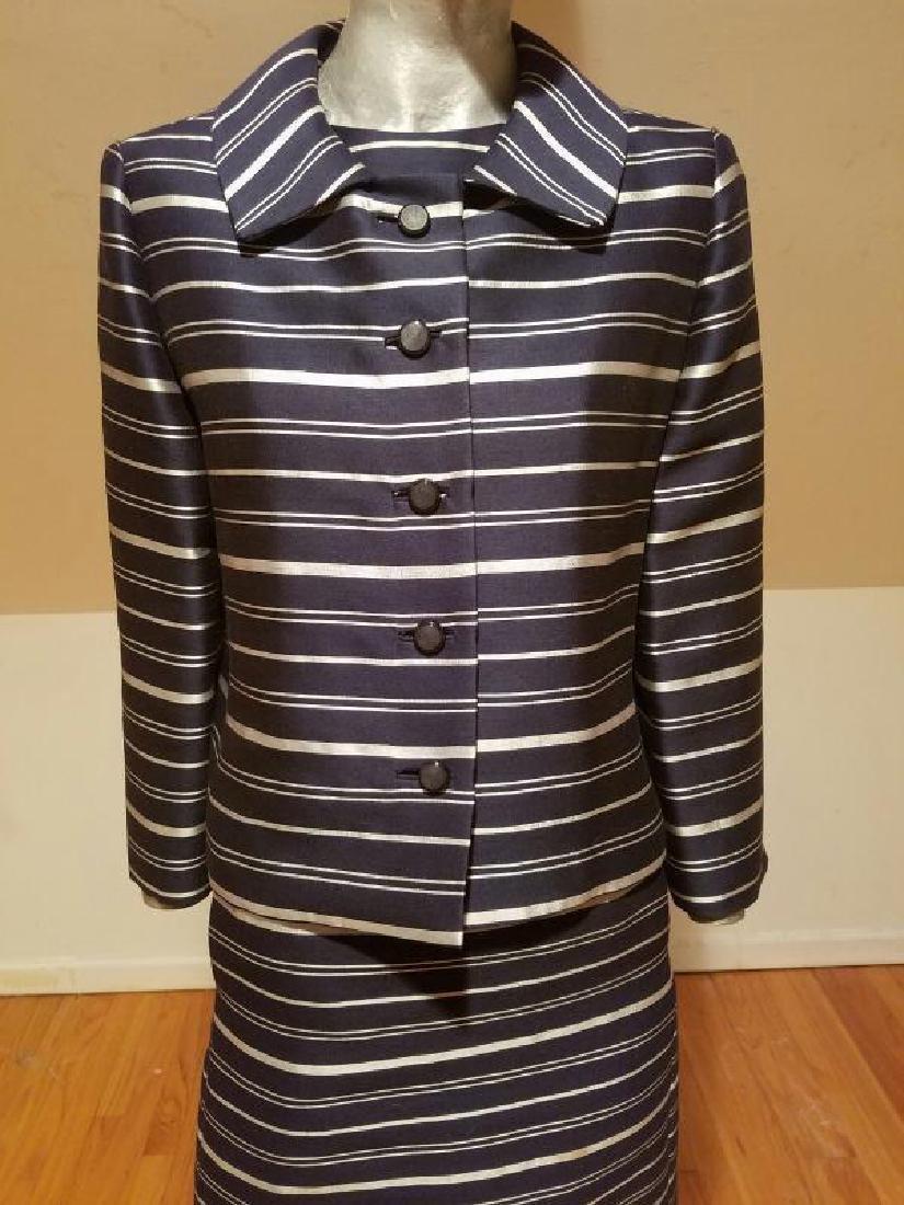 Vtg silk shantung silver lame' stripe dress & jacket - 8