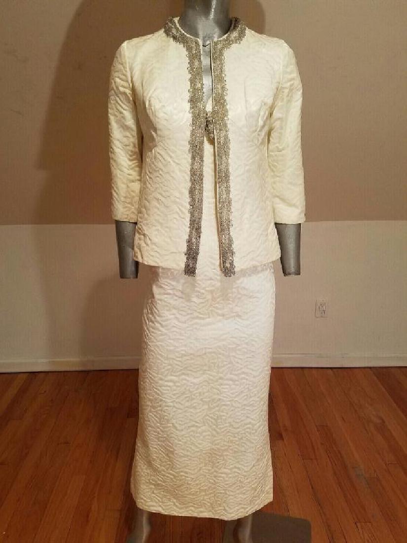 Vtg 1950's Hostess floral Brocade ensemble gown/jkt