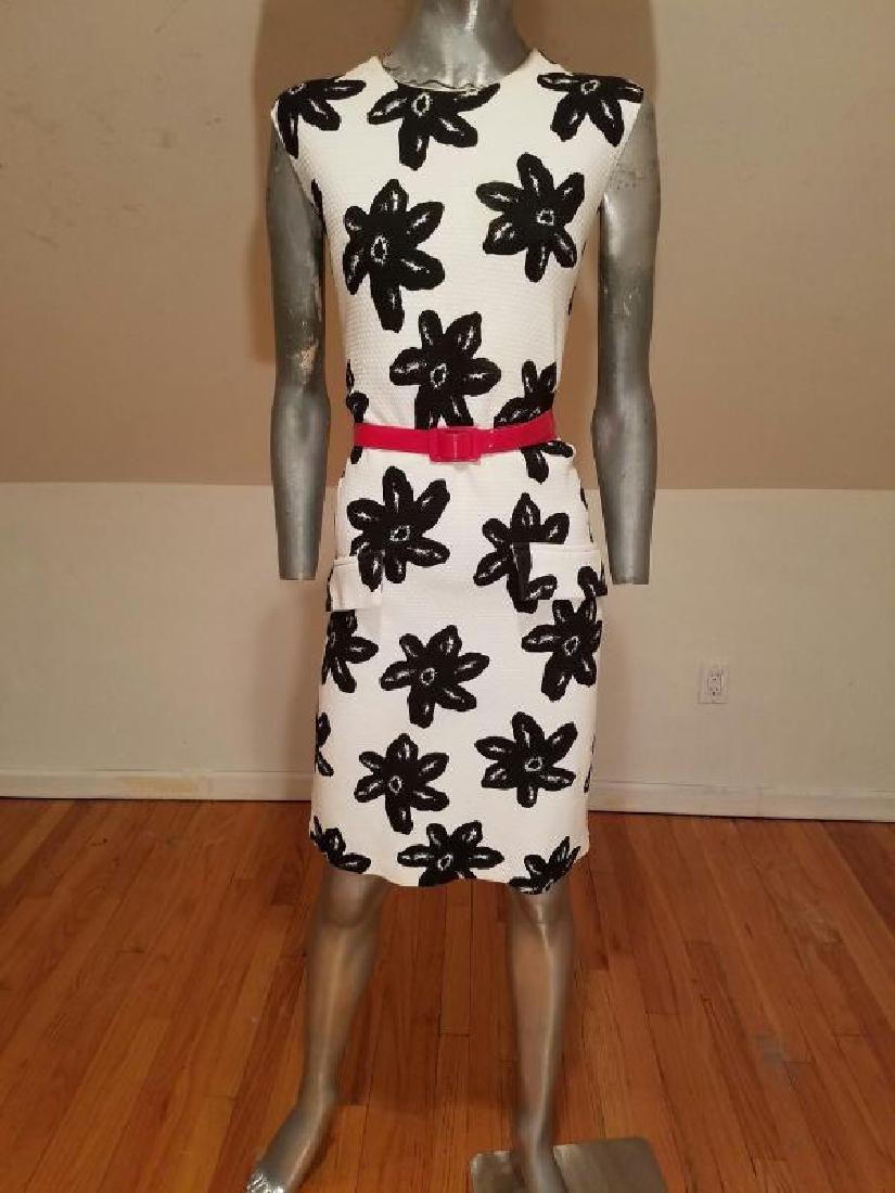 Vtg MOD wiggle piquet print dress red patent leather