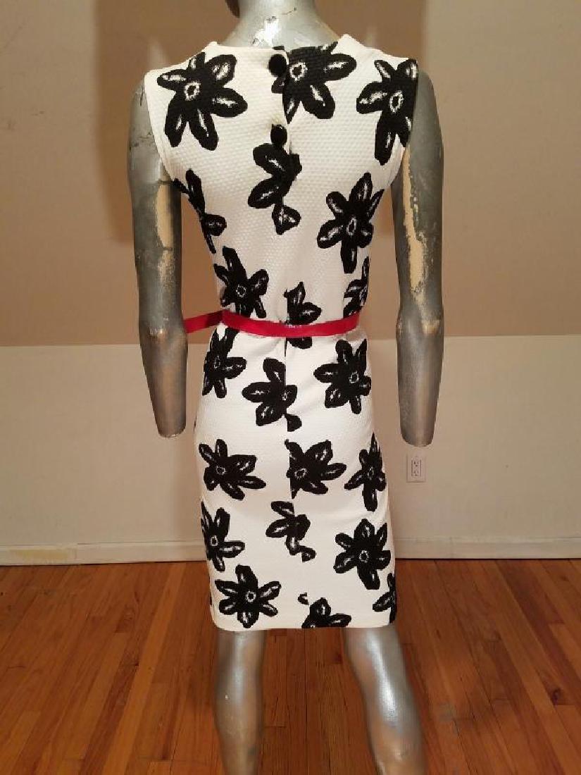 Vtg MOD wiggle piquet print dress red patent leather - 3