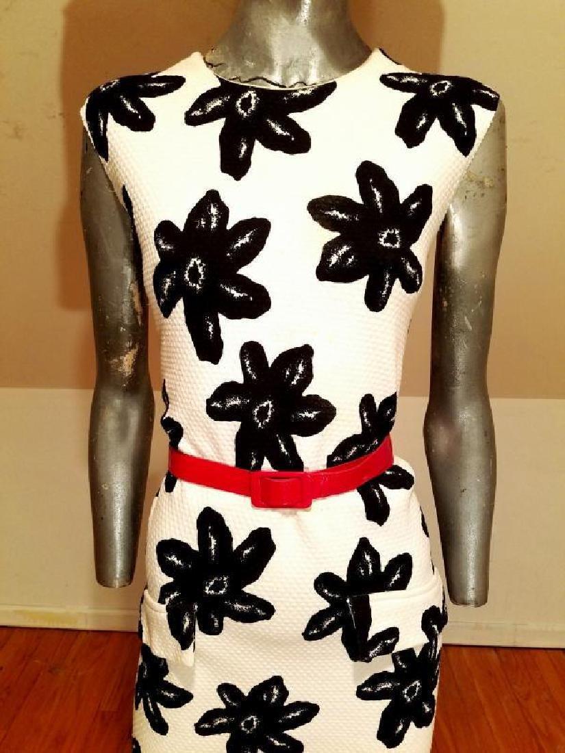 Vtg MOD wiggle piquet print dress red patent leather - 7