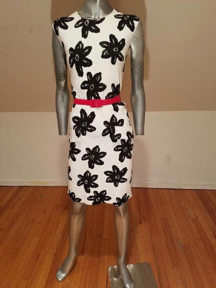 Vtg MOD wiggle piquet print dress red patent leather - 8