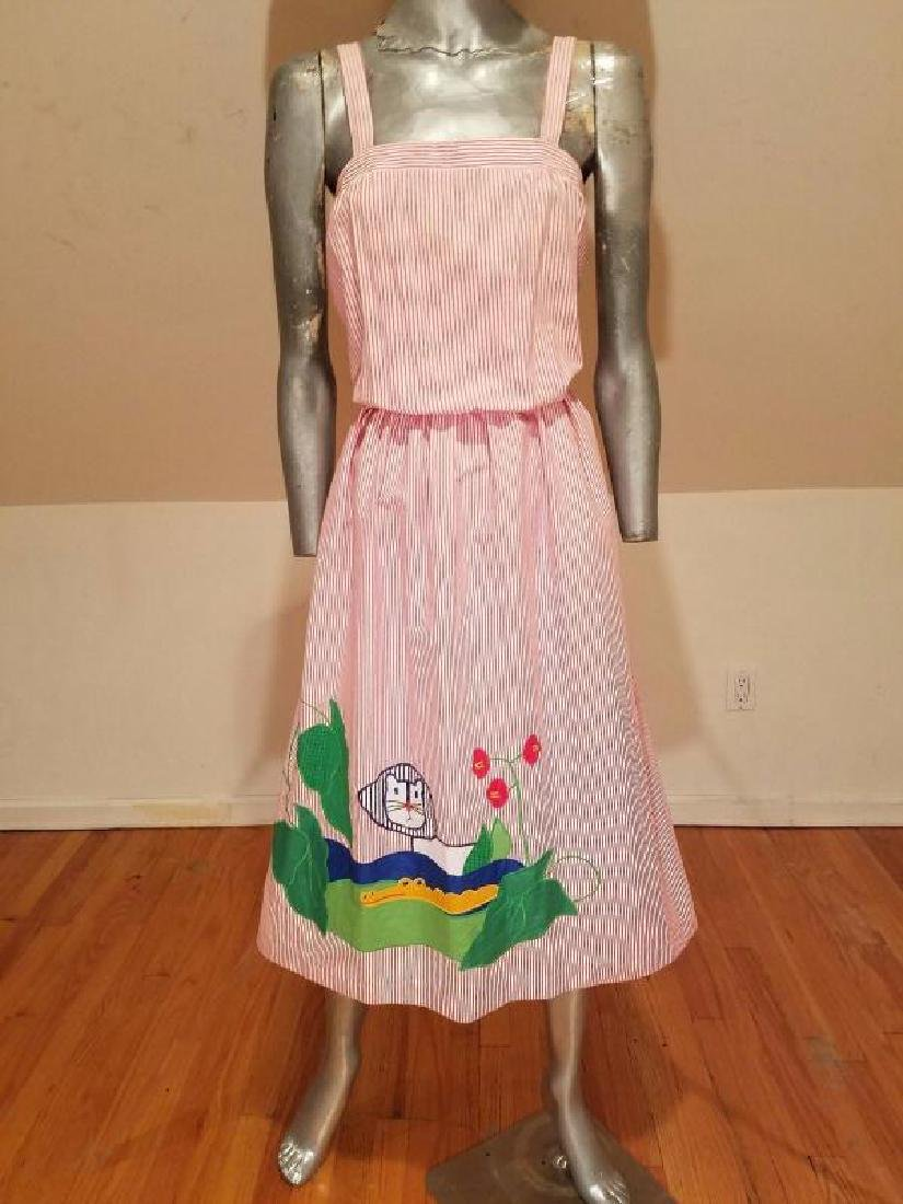Vtg Pinafore seersucker dress with embroidered animal