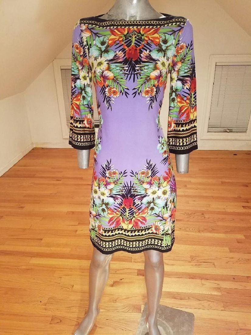Vtg lilac floral printed wiggle dress Paganne style - 2
