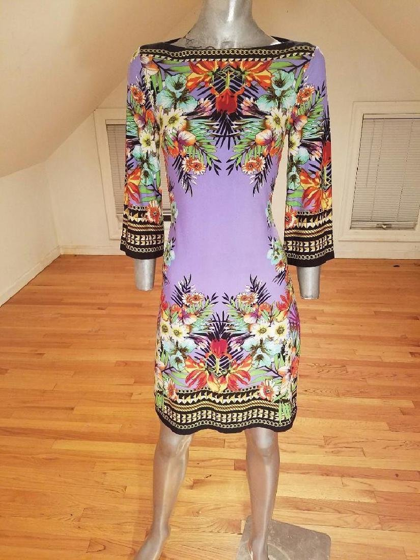 Vtg lilac floral printed wiggle dress Paganne style - 6