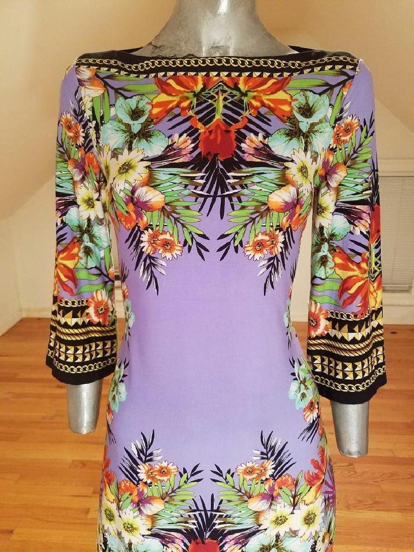 Vtg lilac floral printed wiggle dress Paganne style - 8