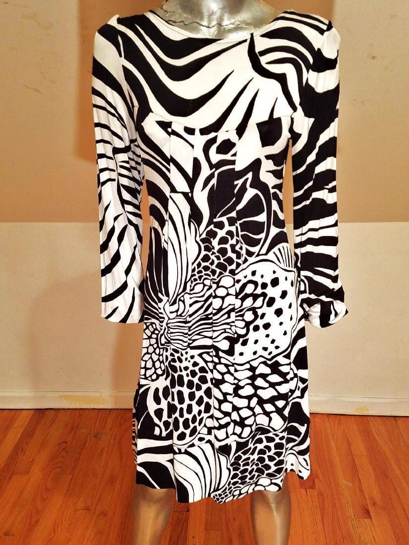 Vtg black/white Animal printed Wiggle dress pleats Made - 2