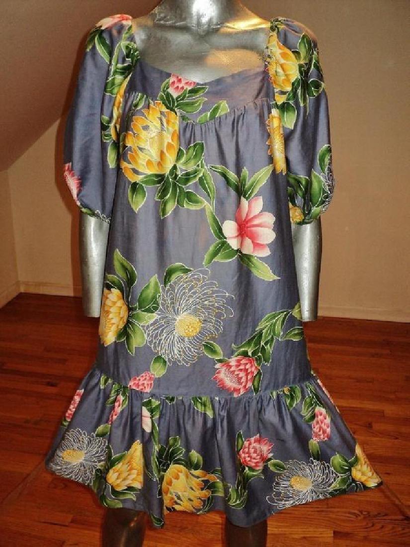 Vtg 1970's Hilo Hatties hand printed floral dress - 4