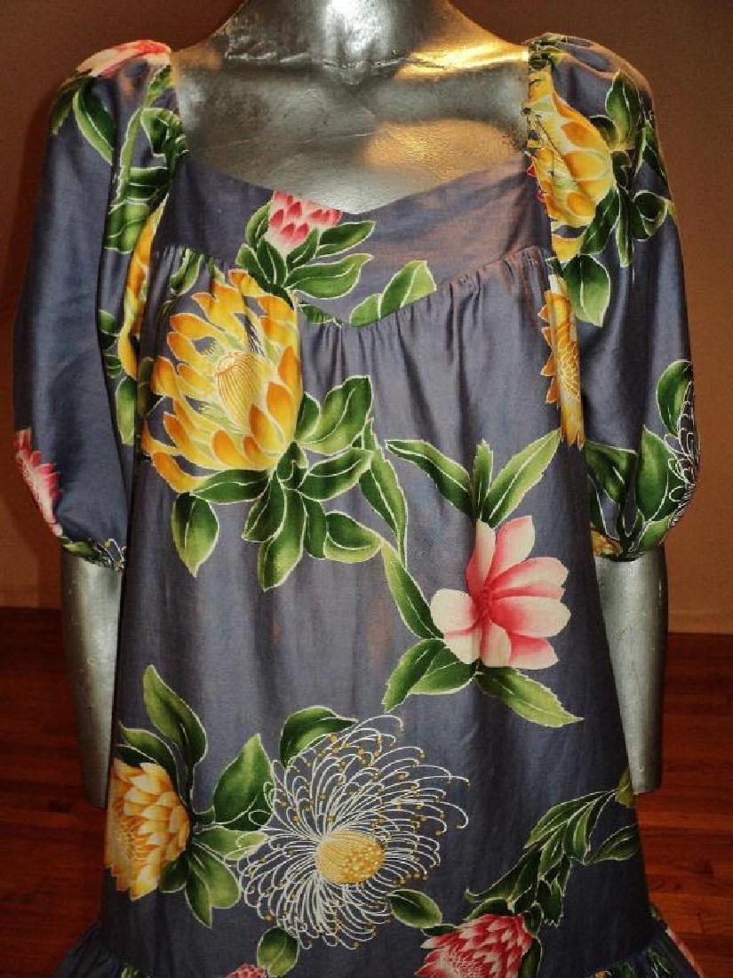 Vtg 1970's Hilo Hatties hand printed floral dress - 5