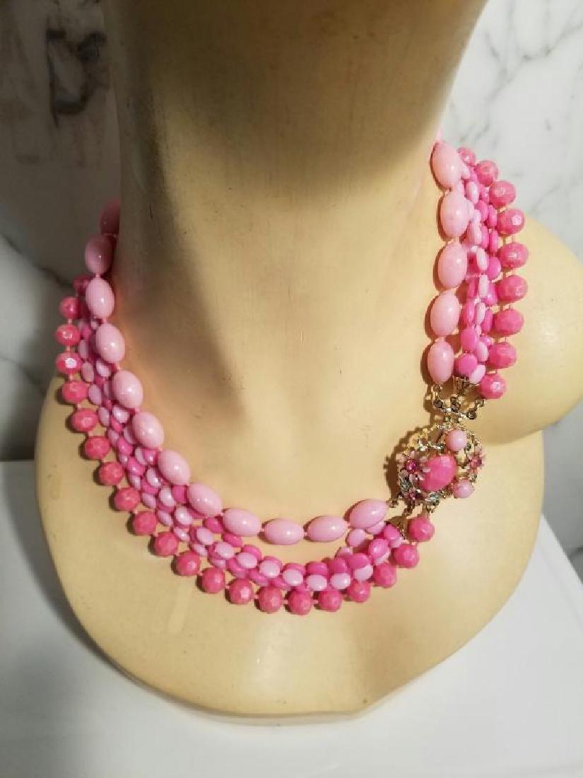 Vtg Bead Necklace multi strand Pink Enamel & rhinestone