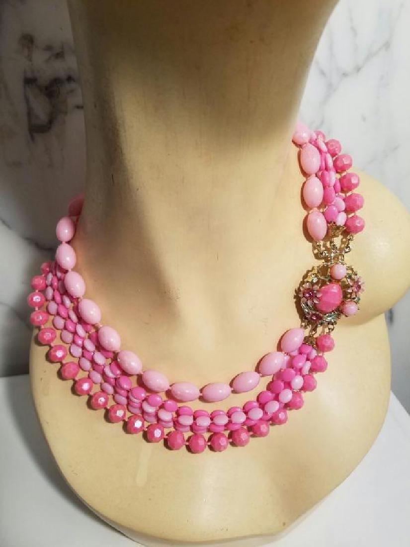 Vtg Bead Necklace multi strand Pink Enamel & rhinestone - 3