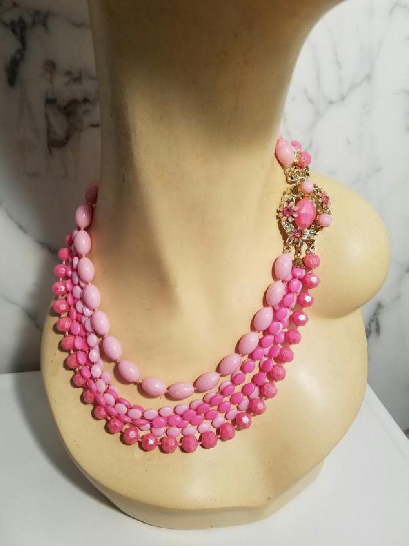 Vtg Bead Necklace multi strand Pink Enamel & rhinestone - 6