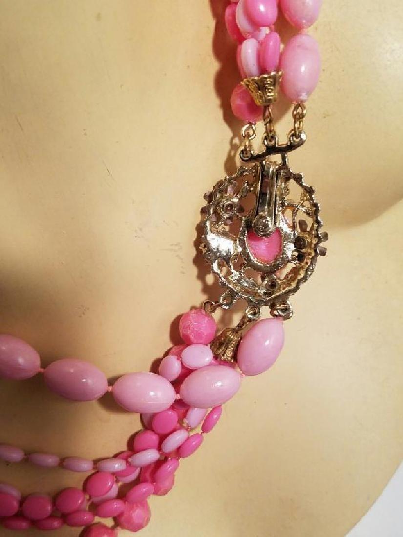 Vtg Bead Necklace multi strand Pink Enamel & rhinestone - 7