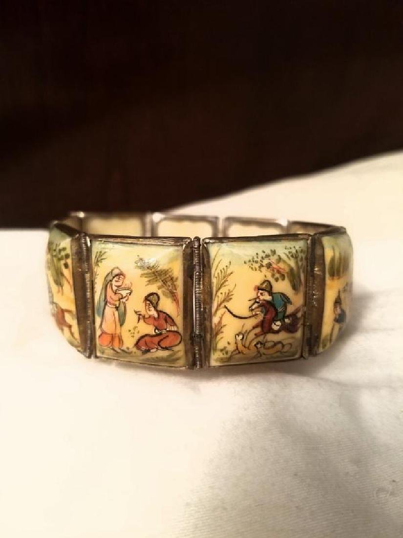 Antique Hand Painted Persian 8 Panel silver bracelet - 10